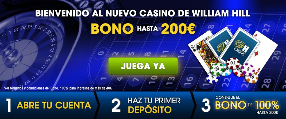 Registrate en el Casino de William Hill y llévate un Bono de Bienvenida de hasta 200€